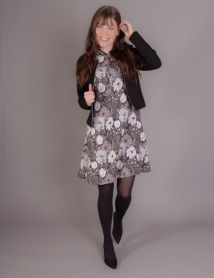 Gemustertes Kleid mit Taschen und Bündchen für Damen ...